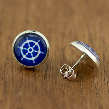 Fake Plugs Anchors Away : Nautical Stud Earrings, Fake Plugs, Ships Wheel, Navy Blue and White, Bohemian, Boho Chic by OAKWILDE on ETSY