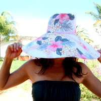 Pastel Pink Sun Hat Women with Wide Brim Hawaiian print Floral Hat  Cotton by Freckles California