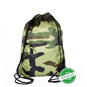Camo Camouflage Waterproof Drawstring Bags Cinch String Backpack Funny Funky Cute Novelty