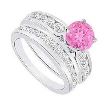 Pink Sapphire & Diamond Engagement Ring with Wedding Band Sets 14K White Gold  1.75 CT TGW