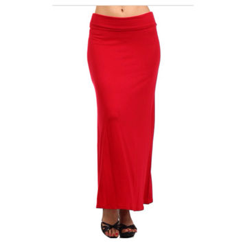 In Style Long Solid Red Maxi Skirt