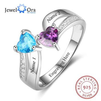 Heart Shape Promise Rings Personalized Birthstone Engrave 2 Names 925 Sterling Silver Jewelry Gift For Her (JewelOra RI103266)