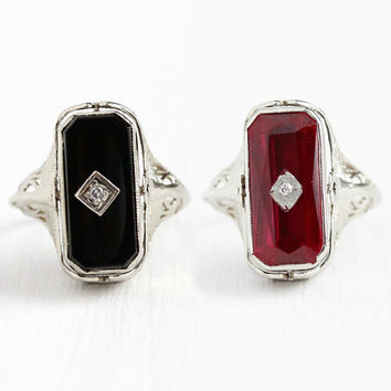 Vintage Flip Ring - 14k White Gold Onyx & Created Ruby Filigree Statement - Size 5 Genuine Diamond Art Deco 1920s Double Sided Fine Jewelry