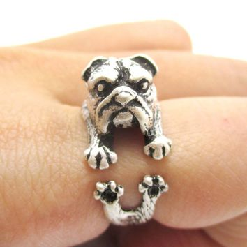 Adorable English Bulldog Puppy Dog Animal Wrap Around Ring in Silver | Sizes 6 to 9