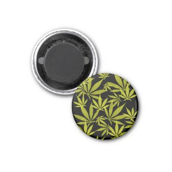 Ganja weed smoke pot black and yellow pattern magnet