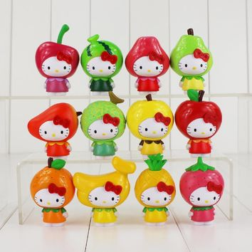 12pcs/lot 7cm Hello Kitty Figure Toy Hello Kitty Cosplay Fruit Apple Cherry Banana Strawberry Pear Peach Anime Model Dolls