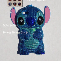 Bling Bling Disney Lilo stitch handmade crystals iphone 5 5S crystals case diamond cover USA