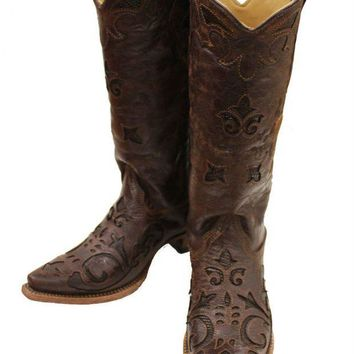 ICIKAB3 Corral Brown Vintage Lizard Inlay Snip Toe Cowgirl Boots C2692