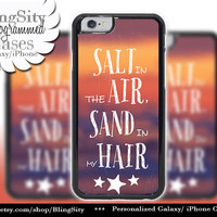 Retro Summer Love Iphone 6 case 6 Plus Salt In Air Sand In Hair Quote Beach Sunset Vintage Look Iphone 4 4s 5 5s 5c 6 6+ Ipod Touch Cover