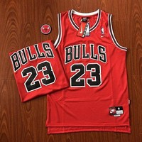 NIKE NBA Chicago Bulls 23rd Michael Jordan Retro SW Embroidered Basketball Jersey Vest Breathable Men's Sleeveless T-Shirt Red