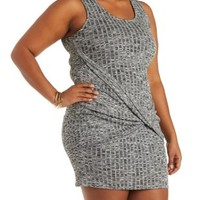 Plus Size Charcoal Ribbed Knit Wrap Bodycon Dress by Charlotte Russe