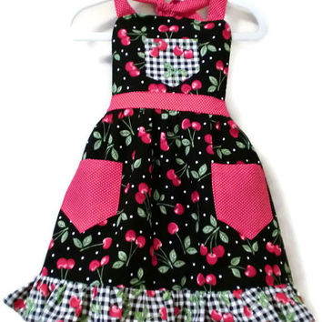 Girl's Apron with Ruffled Hem, Black with Red Cherries, Black/White Gingham Size S 3-4, Size M 5-6