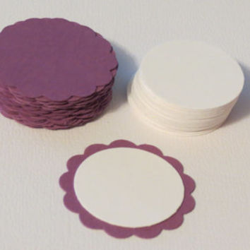 Scalloped Circle Die Cuts Purple with Cirlce Die Cuts White.
