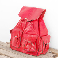 SALE - Extra Large Red Leather backpack satchel bag Handmade Soft Leather School College Travel Picnic Weekend bag