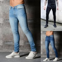 3 Color New Fashion Men's Vintage Fold Skinny Jeans Casual Cotton Pants Washed Ripped Broken Jeans Denim Joggers Slim Pencil Pan