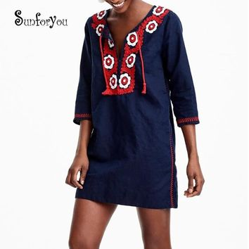 Embroider Cotton Beach Cover up Tassel Tunic for Beach Bathing suit Women Cover up Sarong Pareo Beach Swim Cover up Beach Dress