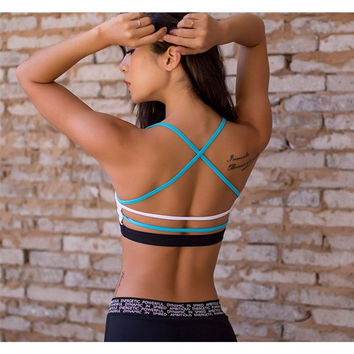 Lightweight Contrast Blue White Strappy Back Sports Bra For Small Chest Low Support Padded Yoga Bra