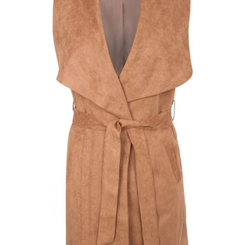 Marissa Faux Suede Sleeveless Belted Waterfall Jacket in Tan Brown