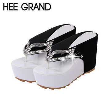 HEE GRAND Brand Thick Bottom Platform Flip Flops Rhinestone Wedge Heel Shoes Patchwork Woman Summer Sandals XWZ1953