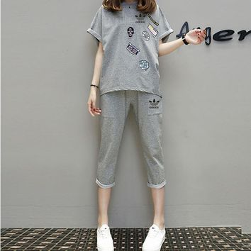 """""""Adidas"""" Women Sport Casual Letter Pattern Embroidery Short Sleeve Set Two-Piece Sport"""