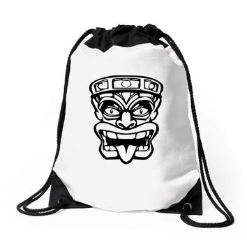 tiki mask hawaiian Drawstring Bags
