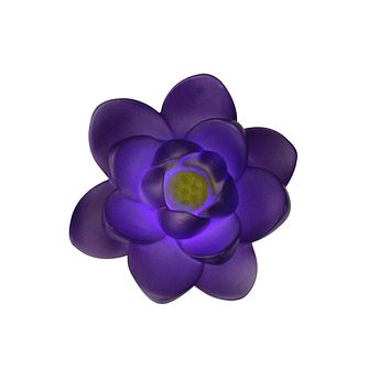 "4"" Floating Purple Flower LED Color Changing Patio or Swimming Pool Light"