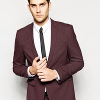 ASOS Skinny Fit Suit Jacket in Burgundy