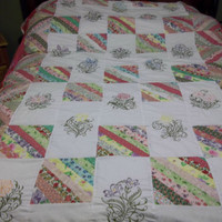 handmade quilt embroidered filigree flowers pieced strip blocks queen size bedding flower blanket