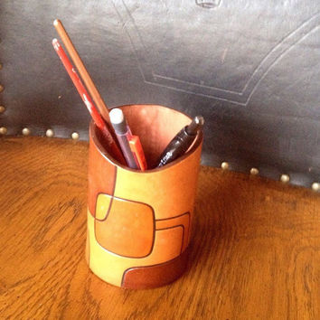 Brown leather pencil holder - office accessories - desk pen holder - geometric pattern leather pencil holder