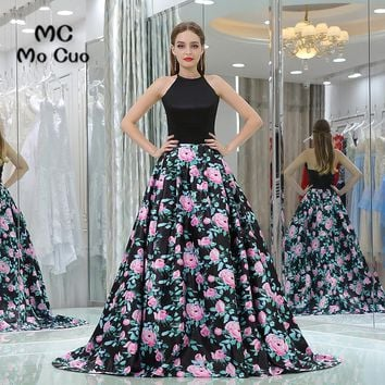 Elegant 2017 New Prom dresses with Print Pattern Off Shoulder long graduation dresses Black Evening Prom Dress Custom Made