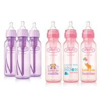 Dr. Browns Baby Bottles Girls 6 Pack - 3 (8 oz) Lavender and 3 (8 oz) Pink bottles with new print