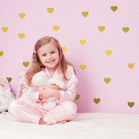 Heart Wall Decal / Gold Heart Wall Decal / 72 hearts sticker / Kids wall decoration / 2 color hearts decal / baby room / gift