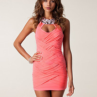 Twisted Mesh Jewel Neck Dress, Elise Ryan