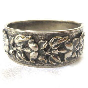 Art Nouveau Bangle Bracelet, Silver Raised Relief Floral Design, Pressed Metal Base, Hinged Bangle Bracelet
