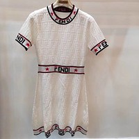 FENDI Trending Women Letter Print Short Sleeve Knit Dress
