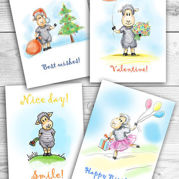 "Sheeps. Set of 4 printable greeting card, Instant Download 5 x 7"" JPG file, New year, Nice day, Birthday, Valentine"