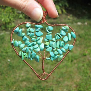 turquoise heart tree of life pendant necklace,wire wrapped tree of life,gift for mom,family tree,heart pendant,december stone,egytian gift