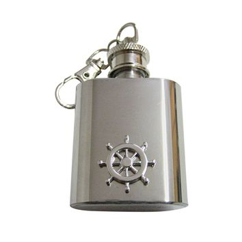 Silver Toned Nautical Ship Steering Helm 1 Oz. Stainless Steel Key Chain Flask
