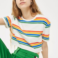 Printed Rainbow Crop T-Shirt | Topshop