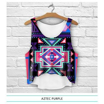 Purple Aztec Crop Top