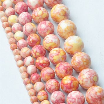 4MM 6MM 8MM 10MM 12MM Natural Red Yellow Rainbow Stones Round Spacer Loose Beads For Necklace Bracelet Charms Jewelry Making
