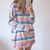 Cute Pastel Stripes Sweater