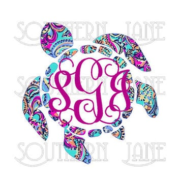 Lilly Pulitzer Inspired Sea Turtle With Monogram Decal Sticker For Yeti Cooler , Rambler , Tumbler , Laptop , Cup , Mason Jar