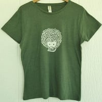 Hedgehog and Leaves Organic Cotton Blend T Shirt in Asparagus Green
