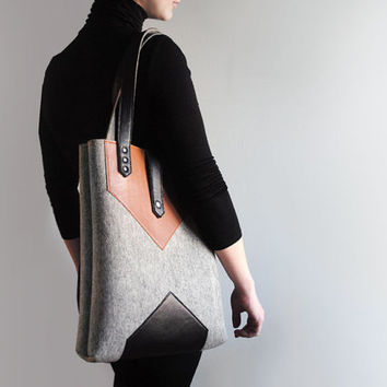 Grey Black Sienna Brown Wool Felt Genuine Leather Tote Bag