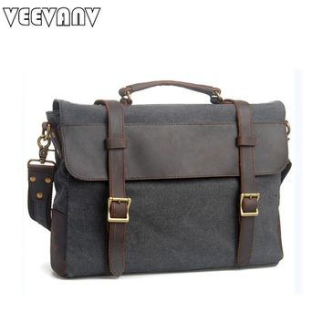 2017 VEEVANV Men's Messenger Bag Travel Crossbody Bag Vintage Postman Shoulder Bag Fashion Canvas Men Handbag Business Briefcase