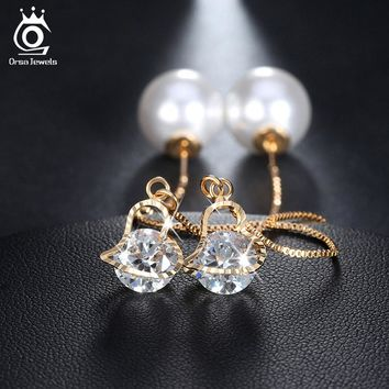Heart Shape Austrian Crystal Long Stud Earrings with Big Simulated Pearl