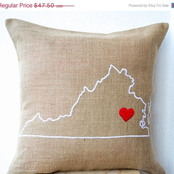 Valentine SALE Burlap Pillow Covers- Customized State Pillow- Embroidered pillow- Personalized Pillow- Gift -26x26- Burlap Cushion- Virgin