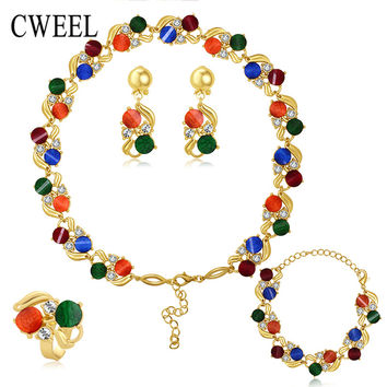 Accessories Wedding African Beads Fine Jewelry Sets 18k Gold Plated Crystal Vintage Costume Earring Bracelet Necklace Ring Set