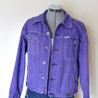 "Violet Jr.  XL Denim JACKET - Purple Hand Dyed Upcycled Pepe Jeans 80s Denim Trucker Jacket - Adult Mens Teens XL (46"" chest)"